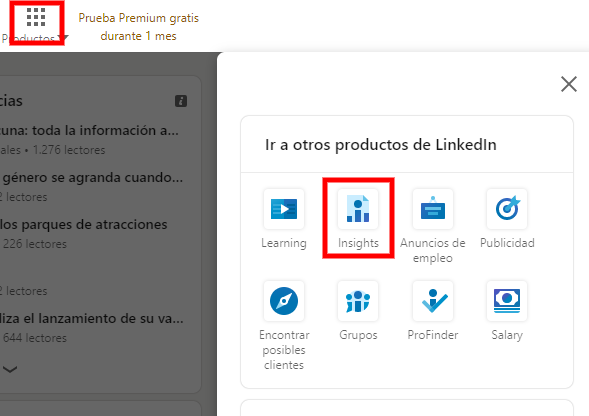 Captura de LinkedIn Insights