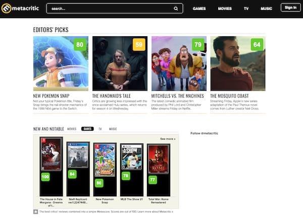 Web Metacritic