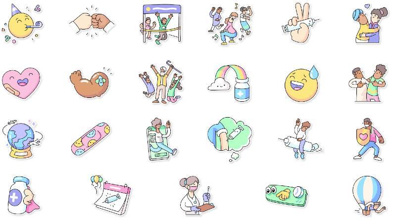 stickers vacunación covid