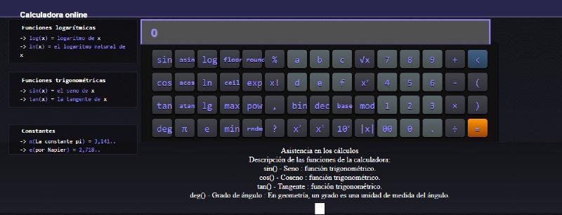 Calculadora online sencilla Calculadora