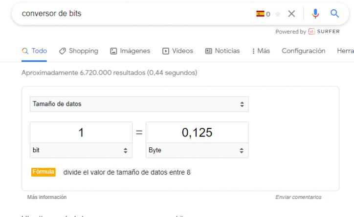 Calculadora online y conversores de Google