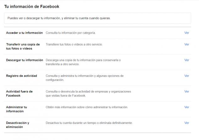 Información personal de Facebook