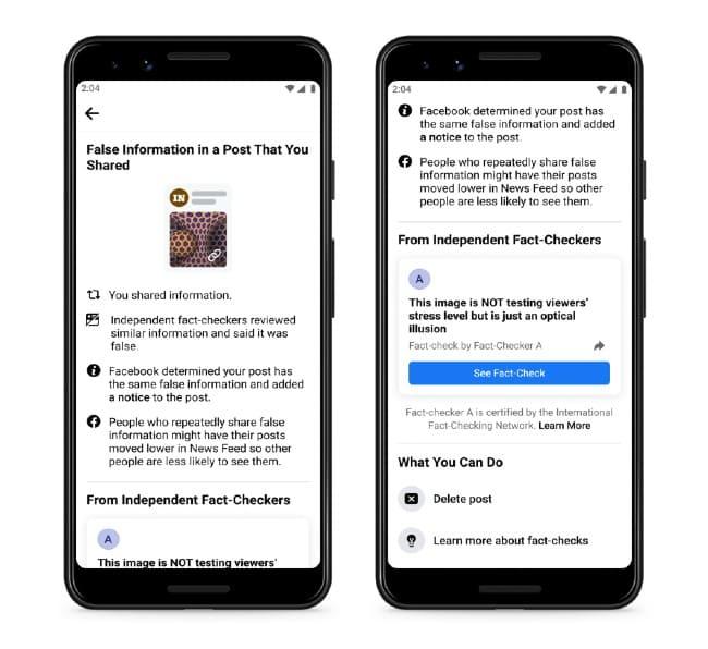 Facebook advertencia ante desinformación