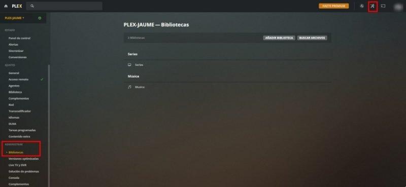 Configuración de bibliotecas en Plex para crear servidor multimedia