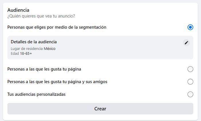 Configurar audiencia en Facebook Ads