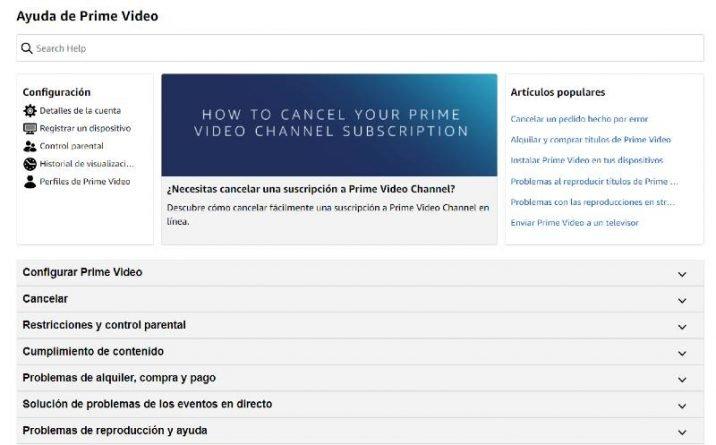 Página de ayuda de Amazon Prime Video
