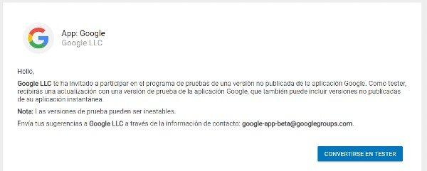 Tester app Google