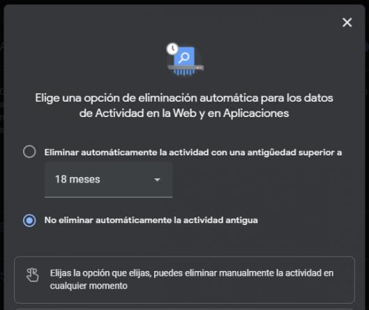 Eliminación automática del historial de navegación de Google