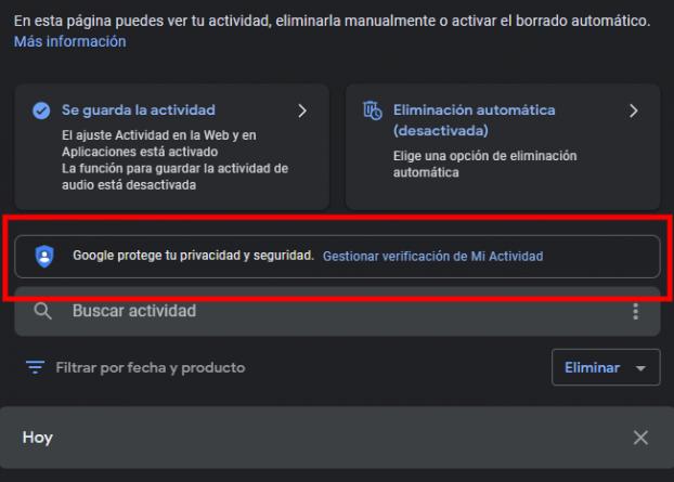 Google Mi Actividad activar opciones de seguridad