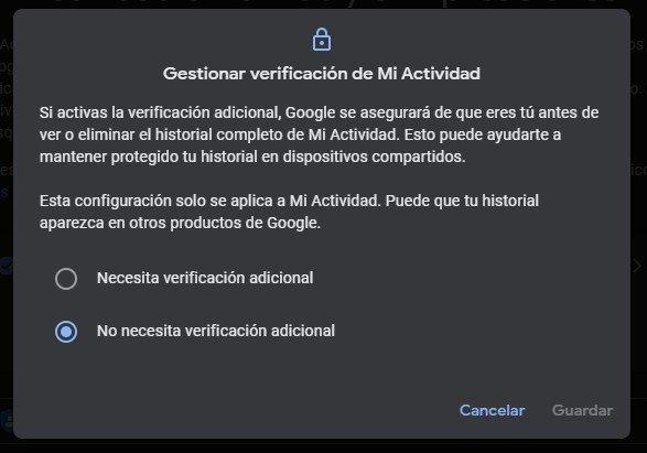 Google Mi Actividad activar opciones de navegación segura