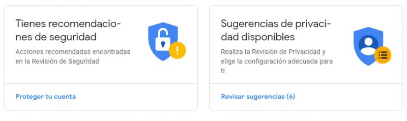 Sugerencias de seguridad de Google