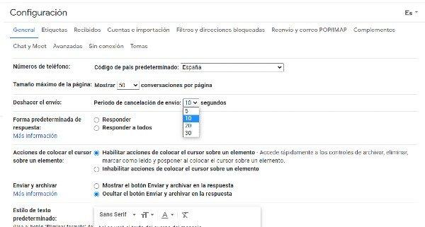Gmail ajustes